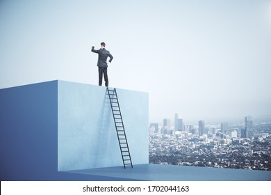 Businessman standing on blue cube with ladder on city background. Motivation and career success concept