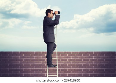Businessman standing on ladder against blue sky over a brick wall