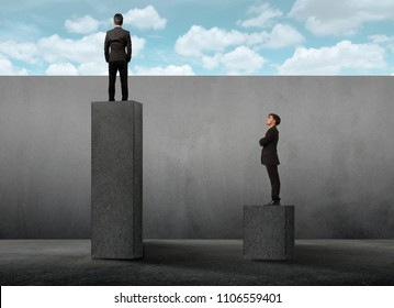 Businessman standing on a plaster bench and green grass.Concept of success and achieving your goal. Side view of a man climbing the concrete stairs made in the shape of a graph.concept idea