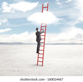 businessman standing on red ladder and looking to sky