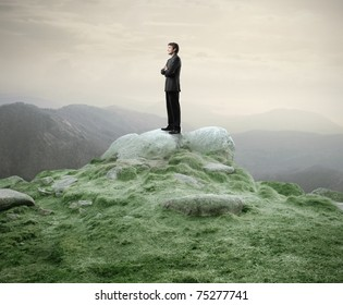 Businessman standing on a rock in the mountains