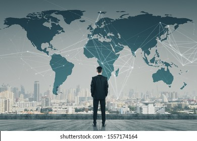 Businessman standing on roof with digital map. AI and global concept