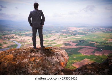 Businessman standing on top of a mountain and look ahead