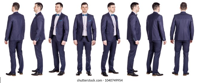 businessman standing  on white background. collage image
