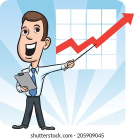 businessman standing pointing at chart