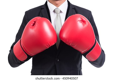 Businessman standing posture with boxing gloves isolated on over white background