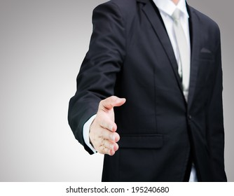 Businessman standing posture show hand isolated on over gray background