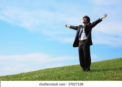businessman standing with spreading hands on the meadow