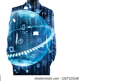 Businessman standing and thinking with graphs, binary, virtual earth . Internet of things concept . Double exposure effects apply .