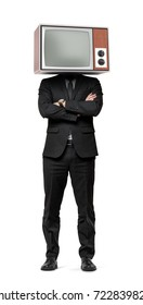 A businessman stands on white background with hands crossed and an old TV on his head. No compromises. Business coach. Obsolete technologies at work.