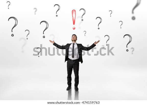 Businessman Stands Raised Hands Looking Upwards Stock Photo