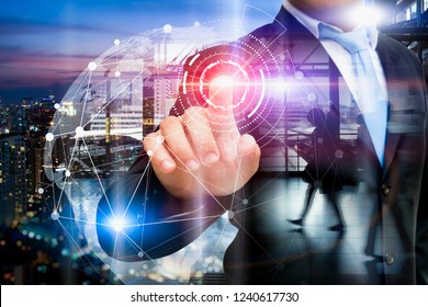 Businessman startups with Global communication network and AI, Artificial Intelligence. Community services concept. Flying earth network interface activated.