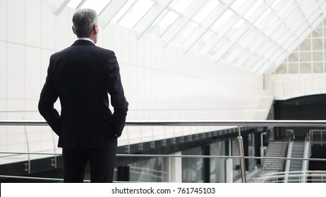 The businessman stay in the business center balcony