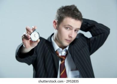 Businessman with stopwatch