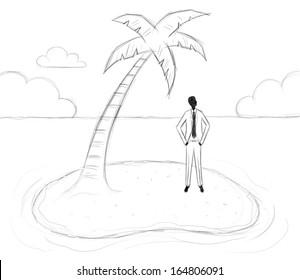 Businessman stranded on an island