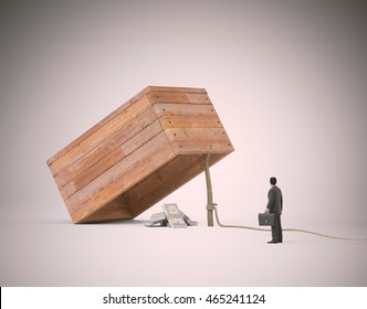 Businessman stranding next to a trap with money -3d illustration