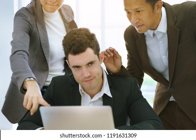 Businessman stressed from overload work and doing mistake, failure with no careful and not responsible. Colleagues communicate by using bad word or complaint which result impact to teamwork.