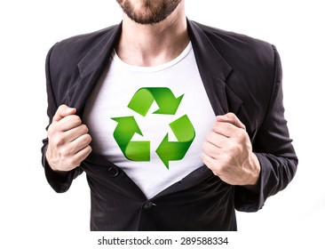 Businessman stretching suit with Sustainable Symbol on white background