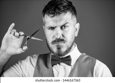 Businessman strict face hold scissors. Barber with beard and mustache hold steel scissors. Grooming beard. Create your style. Macho bearded barber hold scissors cut hair. Barbershop service concept.