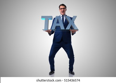 Businessman struggling with high taxes