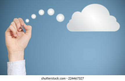 Businessman student or teacher hand pen writing drawing thinking cloud or computing