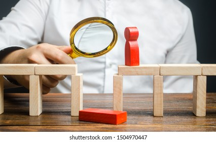 A businessman is studying a problem and ways to solve it. Wrong business model, unprofitability and inefficiency. Failed project. Testing. Risk management. Correction of errors and shortcomings.