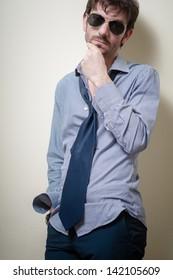 businessman stylish fashion posing elegant on gray background