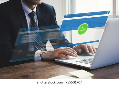 Businessman successfully transferring money with internet online e-banking on laptop computer with virtual screen effect