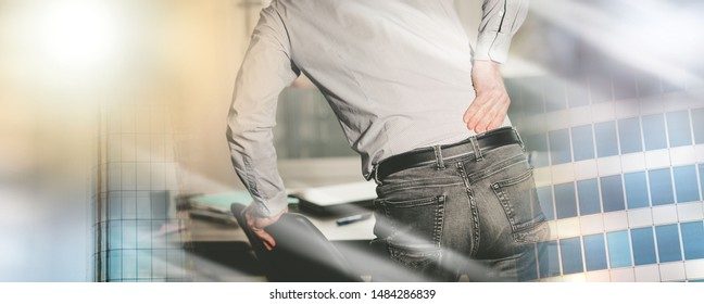 Businessman suffering from back pain in office, light effect; multiple exposure