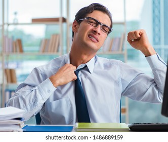 Businessman suffering from excessive armpit sweating