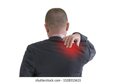 Businessman suffering from neck pain isolated on a white background. A man's sense of fatigue,  shoulder pain, exhausted, stressed. Man massages her painful neck, shoulder  with her hands.