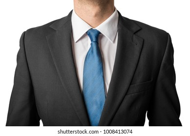 Businessman in suit with blue tie on white background