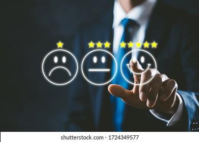 Businessman in suit choosing high evaluation