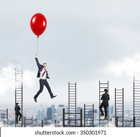 businessman in a suit flying happily holding a balloon over Paris, men climbing ladders, concept of success and career growth