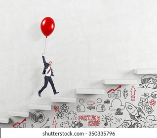 businessman in a suit flying happily holding a balloon over carrer ladder, signs career alternatives under the stairs, concept of success and career growth