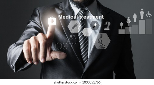 businessman in suit grey of hand touching, inspecting medicine. treatment health,Primary with icon data technology treatment