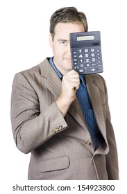 Businessman In A Suit Holding Calculator In Front Of Face