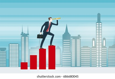 Businessman in suit looking through the telescope and climbing on the bar in the City. Business concept collection.