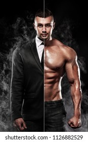 businessman in the suit and Muscular young fitness sports man. Workout with dumbbell in fitness gym.