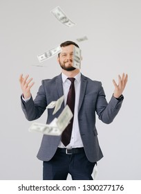 Businessman in suit portrait. Scattering money notes dollars in business profit style concept