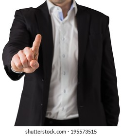 Businessman in suit standing and pointing on white background