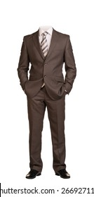 Businessman in suit without head, standing with hands in pockets. Isolated on white background