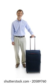 The businessman with a suitcase isolated on a white background