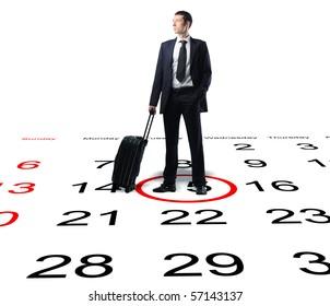 businessman with suitcase on 3d calendar