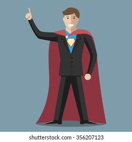 Businessman super hero wearing black suit and blue shirt with emblem. Great idea concept. Flat style