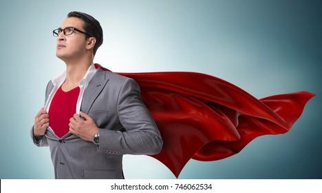 Homme d'affaires au concept de superhéros avec couverture rouge