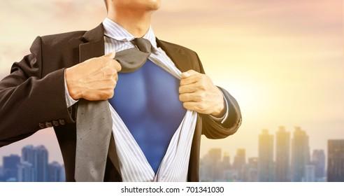 businessman in superhero costume concept