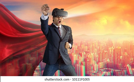 Businessman superhero wearing virtual reality glasses. Mixed media