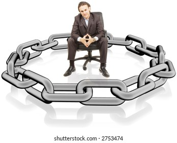 a businessman is surrounded by chains
