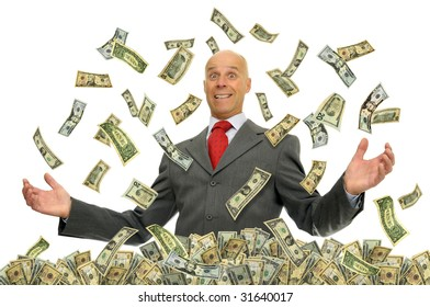 Businessman surrounded by dollar bills isolated against a white background